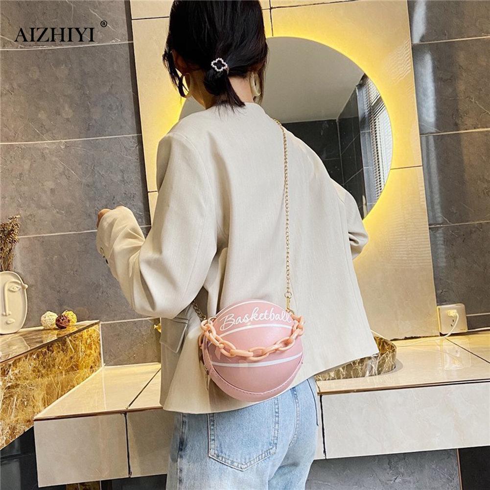Модные баскетбольные круглые сумки через плечо для женщин, повседневные маленькие тоуты с акриловой цепочкой, кожаный мессенджер через плечо-3