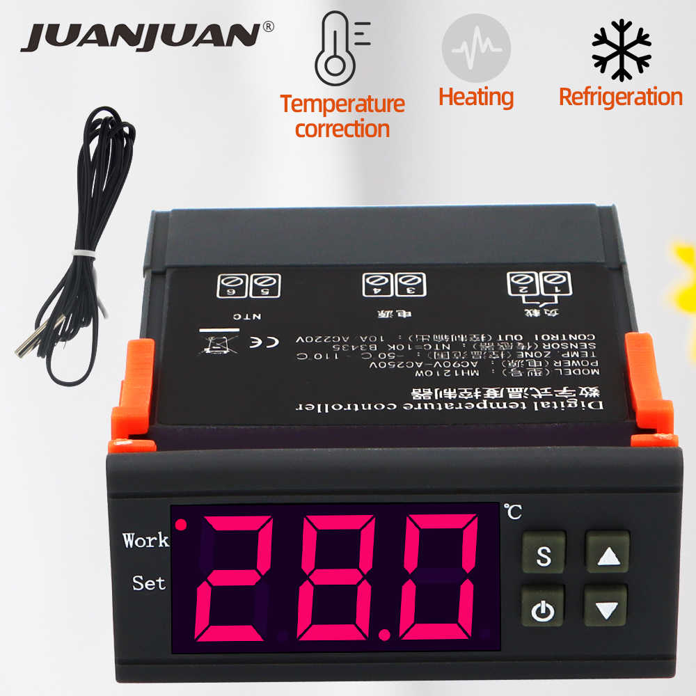 MH1210W Thermostat Digital Suhu Controller Switch Meter Thermoscope untuk Inkubator Kotak NTC Sensor 40% Off
