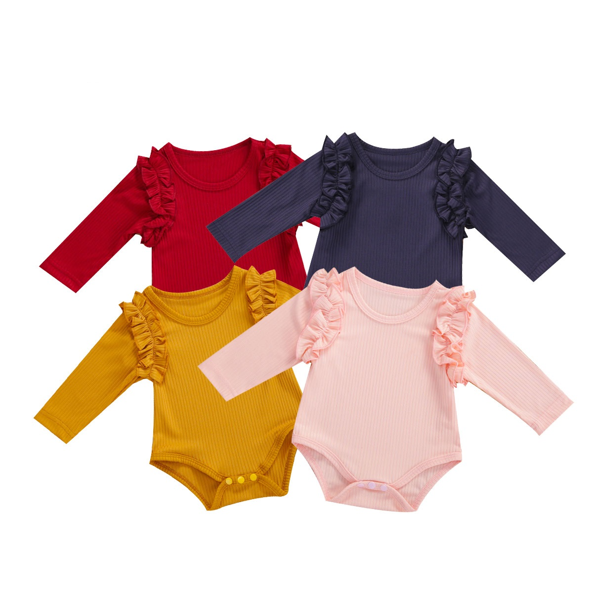 Outono outono infantil bebê meninas amarelo/rosa/branco/vermelho/azul manga longa doce babados bodysuit + bandana 2 peças conjunto roupas