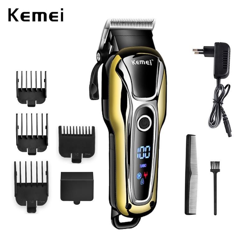 100-240V Kemei Rechargeable Hair Trimmer Professional Hair Salon Hair Clipper Electric Hair Clipper Haircut Electric Fader