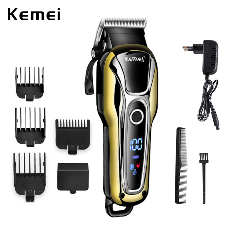 HOT 100-240V Kemei Rechargeable Hair Trimmer Professional Hair Salon Hair Clipper Electric Hair Clipper Haircut Electric Fader