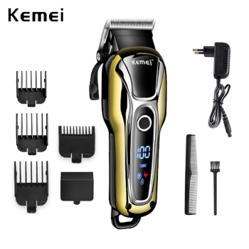 HOT 100-240V kemei rechargeable hair trimmer Professional Hair Salon Clipper Electric Haircut Fader