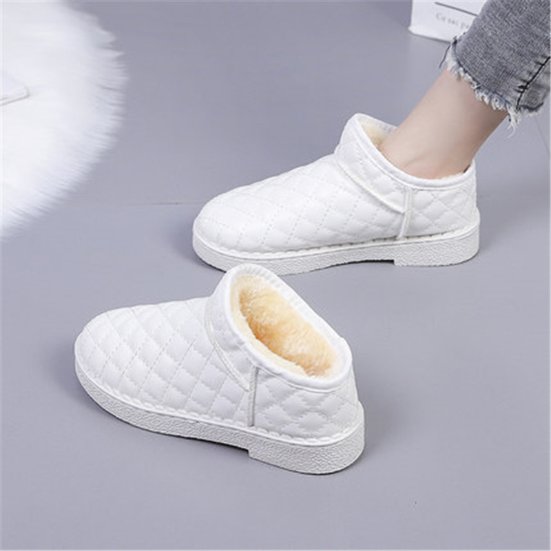 Winter Fashion Warm Snow Boots Women Slip on Flat Cotton Shoes Woman Light Waterproof Cheap Ankle Boots Black White Gold 36-40 image