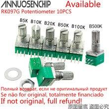 10PCS RK097G Potenciômetro B5K 5K B10K 10K B20K 20K B50K B100K 50K 100K B500K 6 Pinos RK097G Com Interruptor de Áudio Amplificador de 15mm