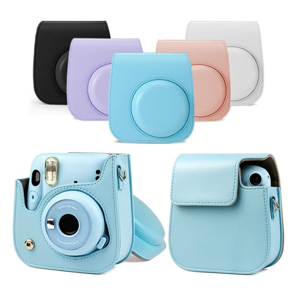 Besegad For Fujifilm Instax Mini 11 Shoulder Camera Bag Colorful Patterns PU Leather Camera case cover with Shoulder Strap  pink