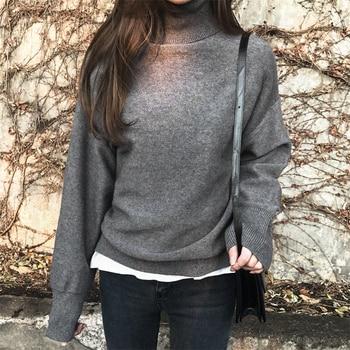 Ailegogo New 2019 Autumn Winter Women's Sweaters Turtleneck Loose Warm Minimalist Tops Korean Style Knitting Ladies SW8307 3