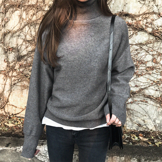 Ailegogo New 2019 Autumn Winter Women's Sweaters Turtleneck Loose Warm Minimalist Tops Korean Style Knitting Ladies SW8307 3