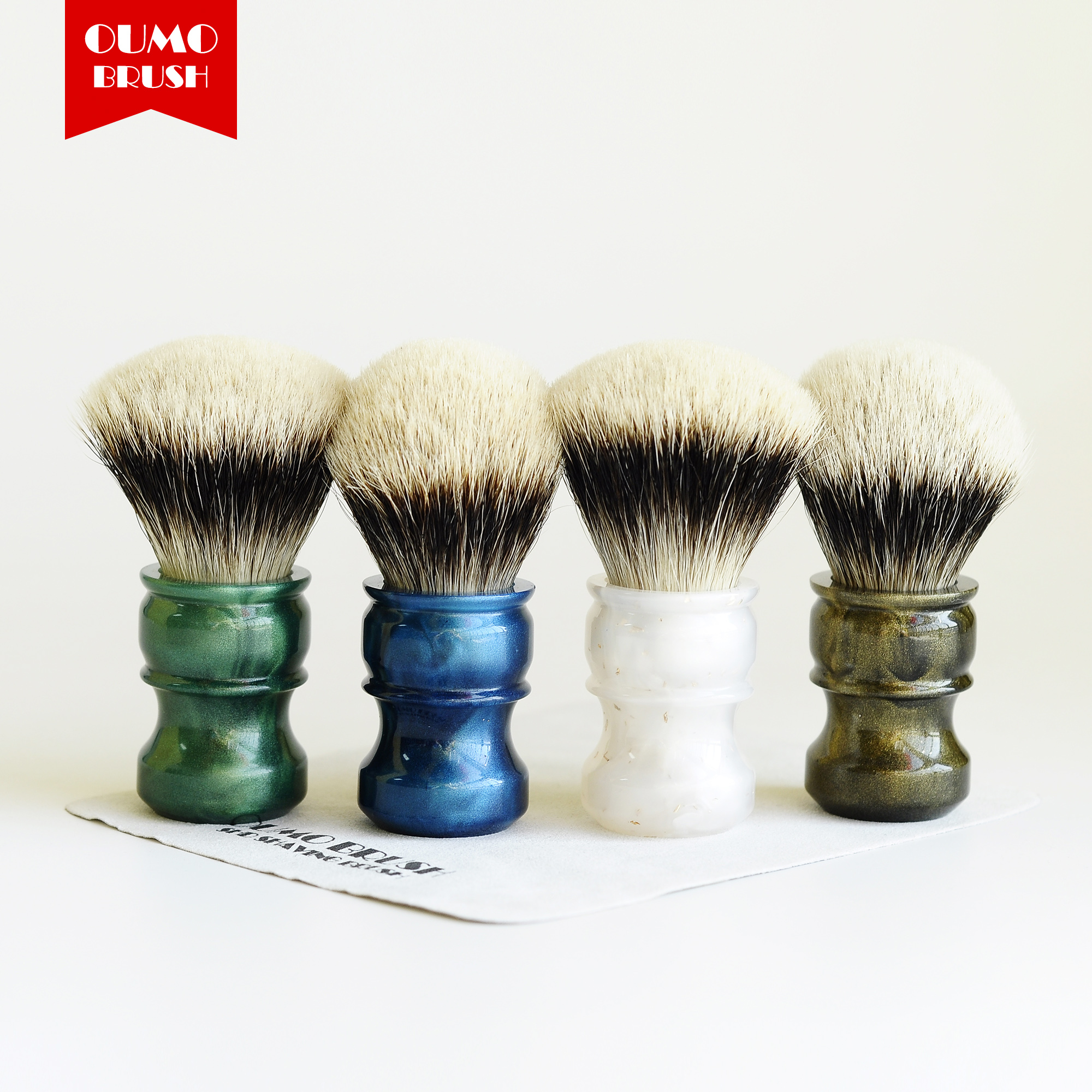 OUMO BRUSH- Fans Exclusive Limit Shaving Brush With SHD WT Finest 2band Fan Badger Knots Shaving Brush Knot