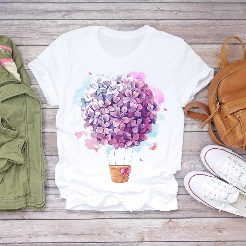 Women 2020 Summer Short Sleeve Floral Flower Fashion Lady T-shirts Top T Shirt Ladies Womens Graphic Female Tee T-Shirt(China)