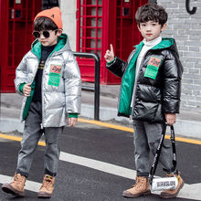 2021 Children Coat Winter Boys Jacket For Boys Kids Clothing Hoodie Outerwear Girls Coat Baby Boy Clothes Winter Down Jackets cheap Mangaship Cotton CN(Origin) Fashion White goose down Letter long Hooded Outerwear Coats zipper Regular Unisex Fits true to size take your normal size