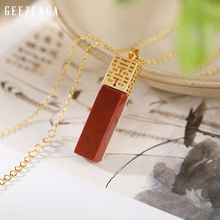 925 Sterling Silver Gold Plated Red Agate Pendant Necklace Chinese happy Character Gemstone Pendants Necklaces Sweater Chain