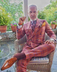 Двубортные мужские костюмы, свадебное платье, клетчатые костюмы для мужчин, пиджаки + брюки, 2 предмета, высокое качество, мужские облегающие...