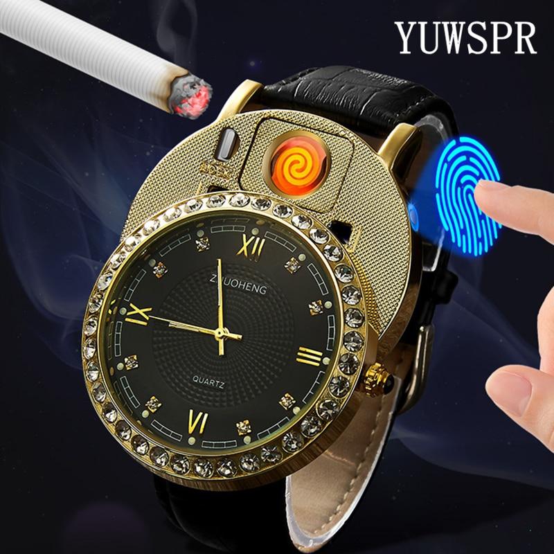 Cigarette Lighter Watches Men Quartz Watch USB Rechargeable Luxury Diamond Dial Casual Wristwatches Male Clock JH391-1 1pcs