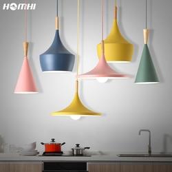 Nordic wisząca lampa lampy Parlor żółty zielony Macaron światła do kuchni lampa pokojowa drewno jadalnia oświetlenie do pokoju lustre zawieszenie|Wiszące lampki|   -