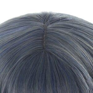 "Image 5 - L דוא""ל פאה ארוך כחול לערבב גריי לוליטה פאות מאובק כחול גלי Harajuku פאת קוספליי עמיד בחום סינטטי שיער ליל כל הקדושים"