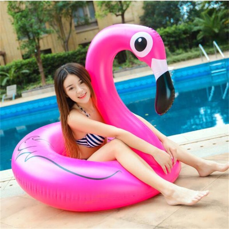 120cm Summer Inflatable Pink Flamingos Shape Swim Pool Floats Raft Air Mattresses Swimming Fun Water Sports Beach Toy For Adult
