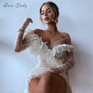 DeerLady Long Sleeve Off The Shoulder Dress Summer 2020 White Lace Dress Bodycon Celebrity Club Party Dresses Women Evening 81cm