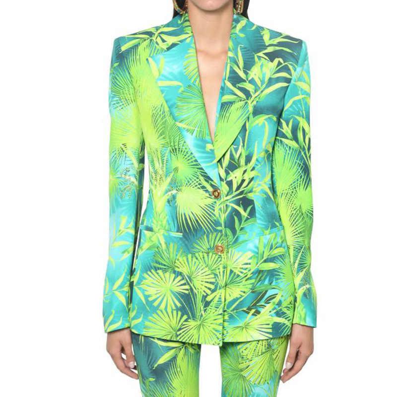 GetSpring Donne Giacca Monopetto A Manica Lunga Con Stampa del Cappotto della Giacca Sportiva di Modo delle Donne del Rivestimento Del Vestito Sottile Casual Verde Cappotto Rosso
