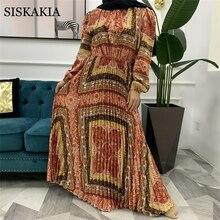 Siskakia Maxi Dress for Women Fashion Ethnic Print Bow Tie V