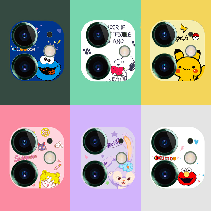 Cartoon Cute Camera Protector Case For IPhone 11 Pro Max Camera Protector Film Cute Tempered Glass Lens Protection Sticker Cover