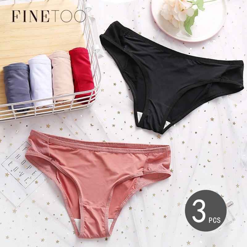 FINETOO 3 adet/takım dikişsiz külot kadın yumuşak külot seksi örgü iç çamaşırı rahat düz renk kadın iç çamaşırı M-XL külot