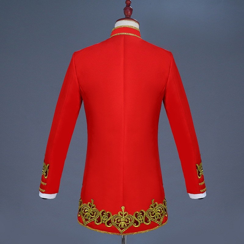 Jacket+Pant+Vest 3 Piece Suits Men Gold Embroidery Open Stitch Stand Collar Slim Fit Blazer Red Black Navy Blue Costume Homme
