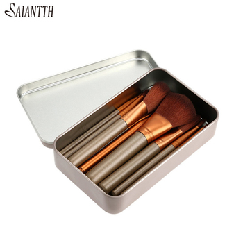 SAIANTTH Classic Iron Box Power Brush Light Coffee 12pcs Makeup Brushes Set Blush Foundation Concealer Eyeshadow Lip Maquiagem