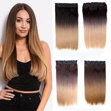 Queendom-extensiones de cabello Natural, 5 pinzas en una pieza, peluquín falso recto, sintético, degradado