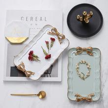 Europejski styl retro bowknot żywica taca taca na biżuterię biżuteria taca dekoracja taca taca dekoracji owoców tanie tanio CN (pochodzenie) Rectangle Floral Synthetic resin Ornaments Utensils Zhejiang