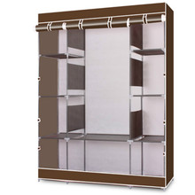 Stylish Wardrobe Non-Woven Fabric 4-Layer 10 Lattices Coffee