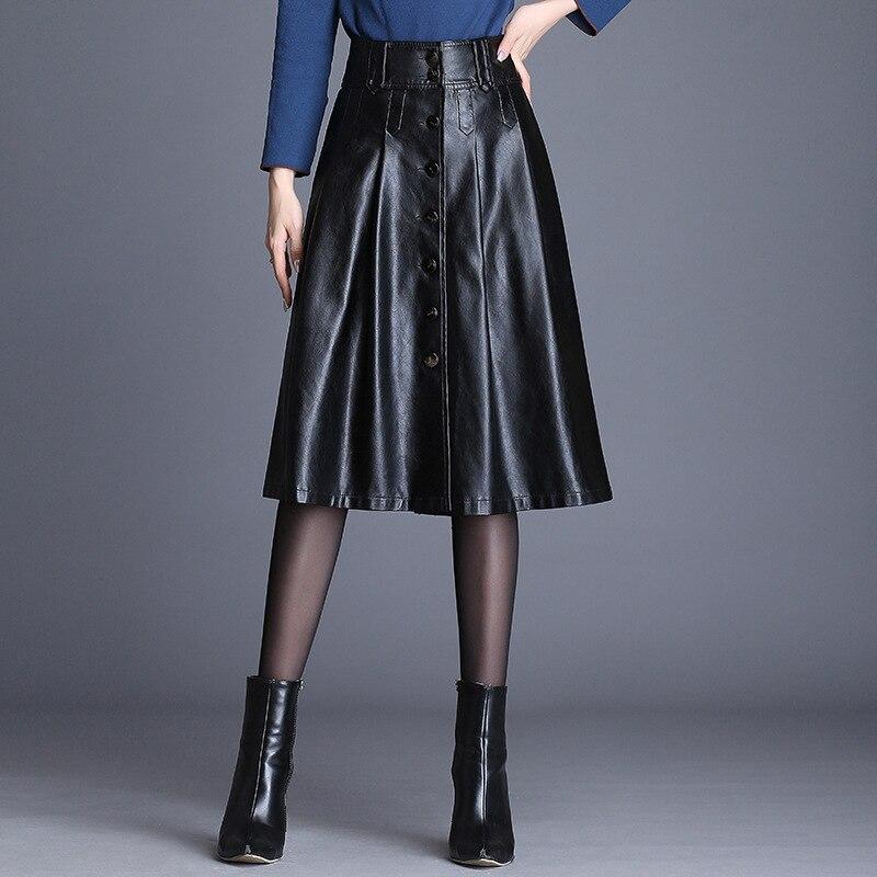 Women's Pu Leather Skirt High Waist Black Women 2019 Autumn Winter Fashion New A-line Sexy Single Breasted Women PU Skirts