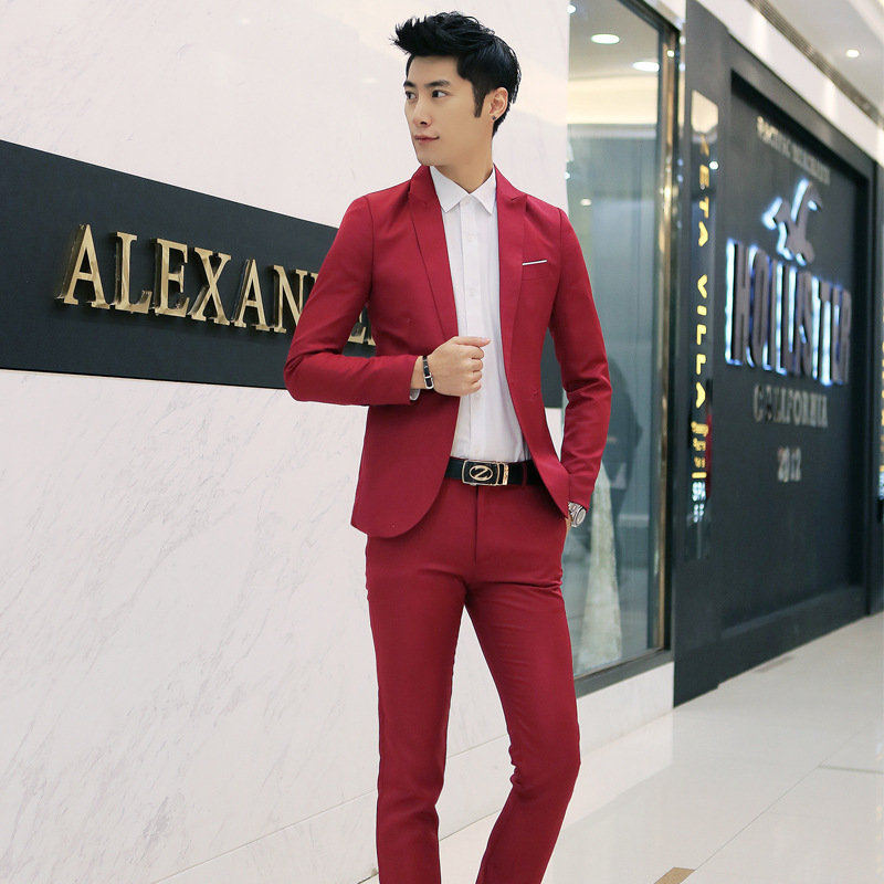 Hot Selling Suit Korean-style Slim Fit Casual Men Dustproof Suit Cover Two-Piece Set