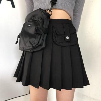 цена на Summer Japanese Pleated Short Skirt Solid Pockets Retro Casual Ladies Skirt Women High Waist Harajuku Streetwear Tooling Skirt