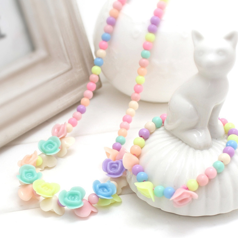 9 Models Lovely Children Girls Flower Necklace Bracelet Kids Sweet Imitation Pearl Beads Acrylic Jewelry Set Gift