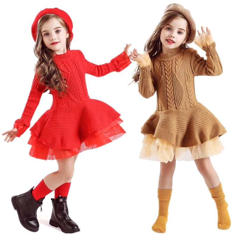 Knitted Long Sleeve Winter Dress for Girls 3 5 8 Years Children Christmas Clothes Kids Dresses For Girls New Year Party Costume 1