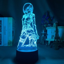 Nightlight Attack Ackerman-Figure Titan Anime Gift Mikasa 3d-Lamp Room-Decoration Color-Changing