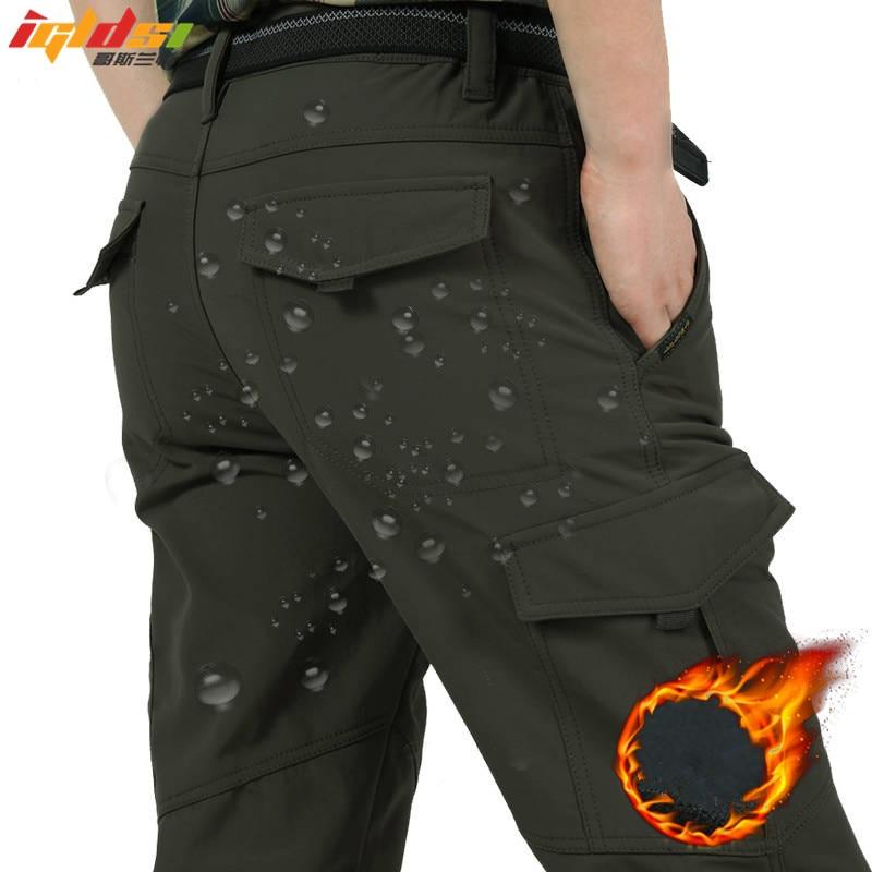 Men's Fleece Tactical Pants Winter Warm Cargo Pant Military SoftShell Work Trousers Shark Skin Thick Warm Waterproof Pants M-4XL