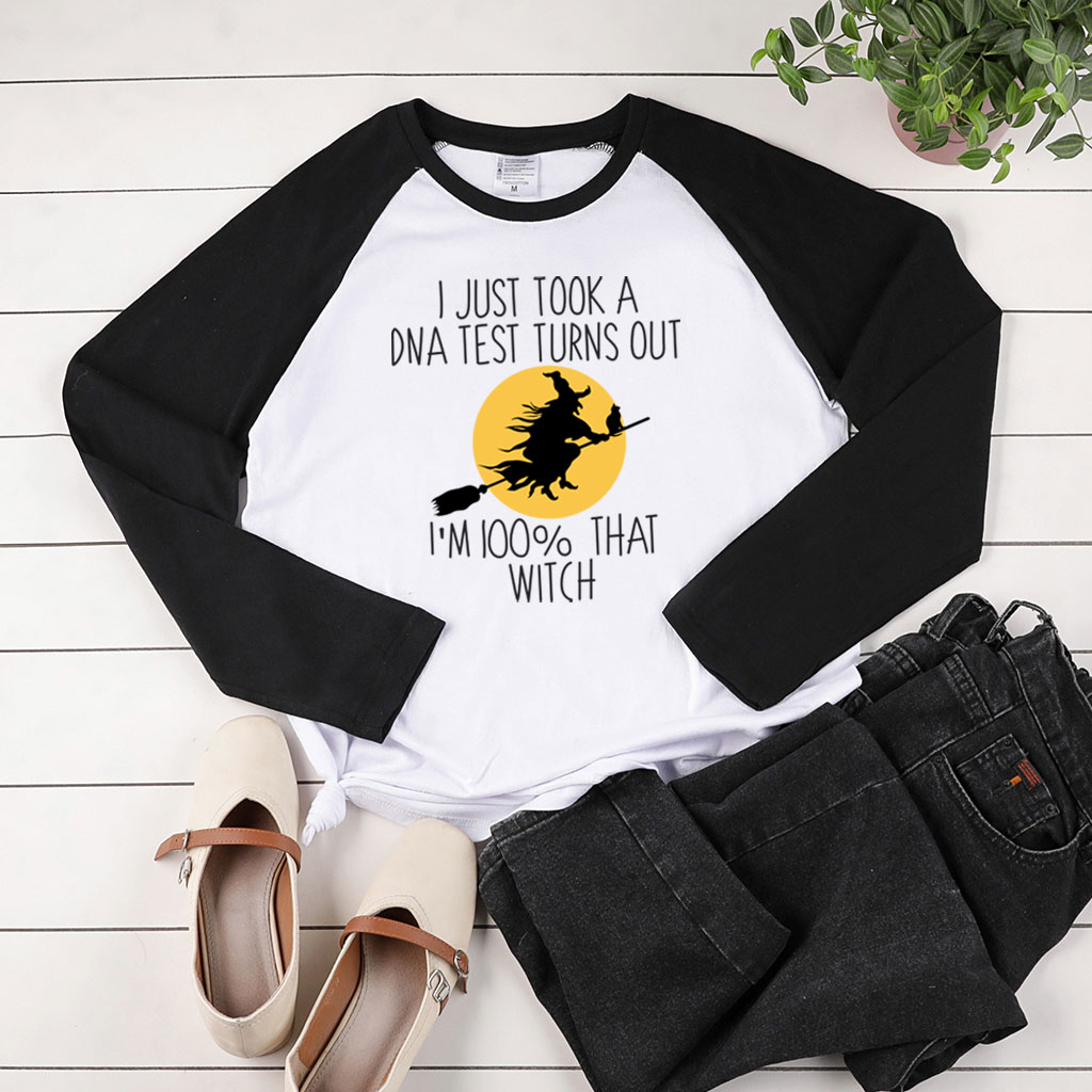 I Just Took A DNA Test Printing Halloween Long Sleeve T-shirts Women Autumn Winter Woman Tshirts Fashion Two-tone Stiching Top 1