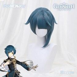 Monenjoy Genshin Impact Xingqiu косплей парик бирюзовые короткие волосы
