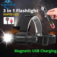 Mini Muti-Function xhp50 flashlight LED Headlight portable work lamp Magnet USB Rechargeable built-in 1800MAH battery