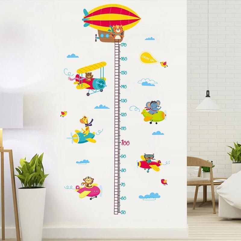 2шт животные самолет Мультфильм Высота линейка настенные наклейки для детского сада наклейки - 2