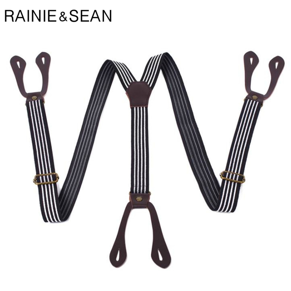 RAINIE SEAN Mens Button Suspenders Black White Striped Female Braces Y Back Adjustable Unisex British Vintage Trousers Strap
