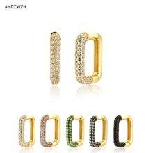 ANDYWEN – boucles carrées de luxe en argent Sterling 925, Zircon transparent, cristal pavé, Piercing Huggies, boucles colorées, pendentif
