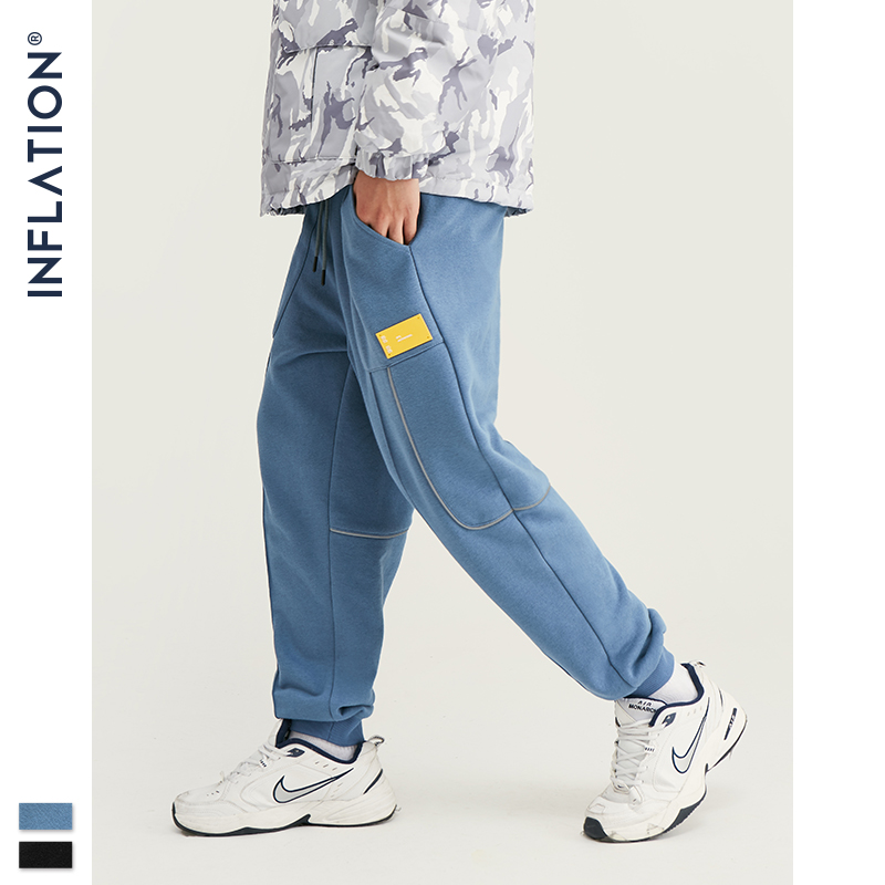INFLATION Mens Hip Hop Joggers Sweatpants With Drawstring Streetwear Knit Fabric Elastic Waist Men Pants Side Pocket 93453W