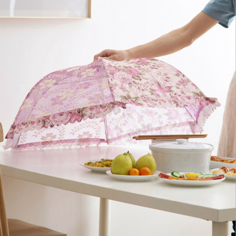 New Foldable Table Food Cover Lace Mesh Net Umbrella Style Anti Fly Mosquito Kitchen Tools Meal Cover Table Mesh Food Covers