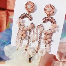 MENGJIQIAO koreański elegancki ręcznie zrobiony kwiatek kryształowe opadające kolczyki z długimi frędzlami dla kobiet Grils Brincos biżuteria akcesoria do uszu