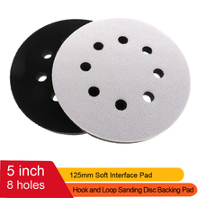 "2Pack 5 Inch 125MM 8 Holes Soft Density Interface Pads Hook and Loop 5"" Sponge Cushion Buffer Backing Pad"