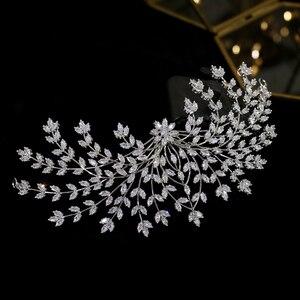 Image 2 - 新デザイン花嫁ティアラヘアアクセサリー花の女性の結婚式のヘアアクセサリーサイドクリップディナーウェディングドレスのアクセサリー