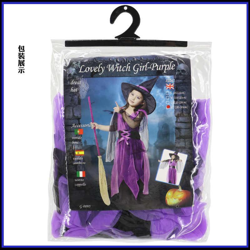 Shanghai Cerita Gadis Halloween Cosplay Kostum untuk Anak-anak Anak Indah Penyihir Gadis Ungu Kostum