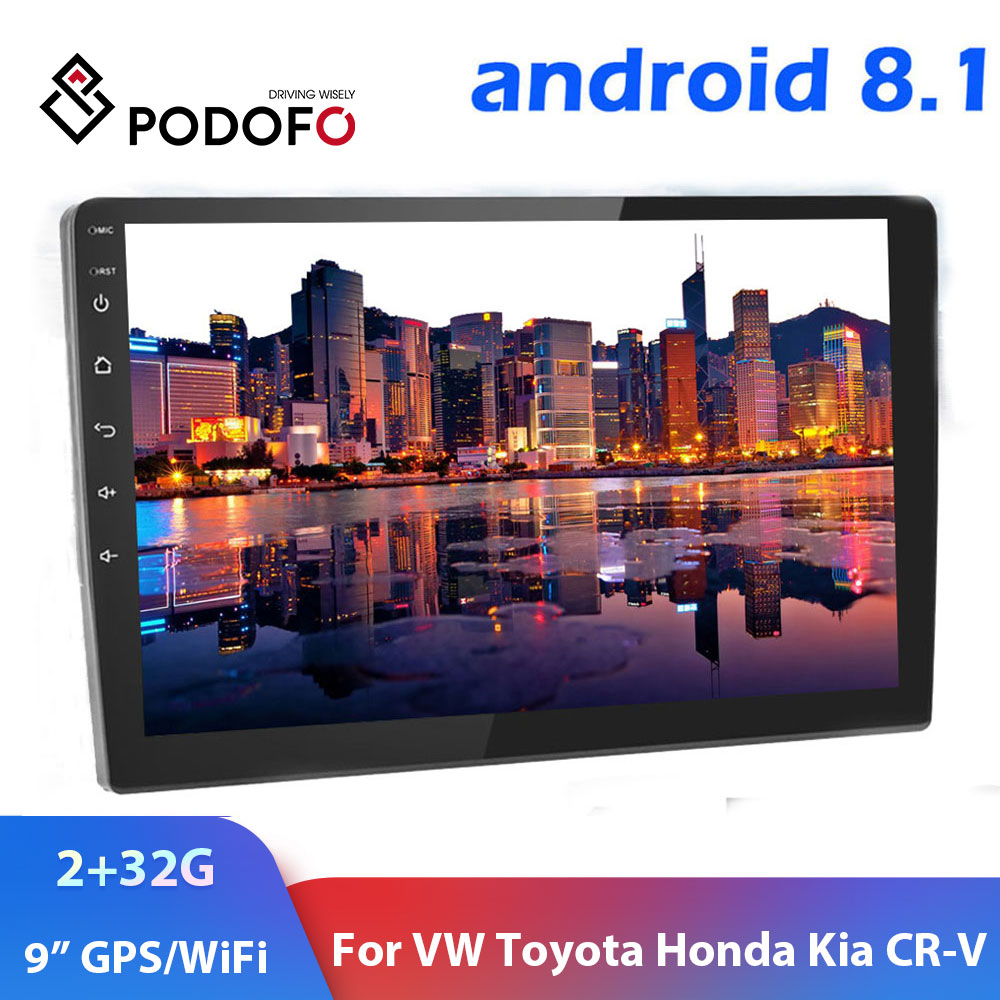 "Podofo 2din Car Radio Android8.1 9"" 2+32G Autoradio GPS Wifi Car Multimedia Player For Volkswagen Nissan Hyundai toyota CR V Kia